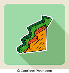 Hand drawn real estate green arrow graphic.