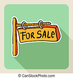 Hand drawn real estate for sale sign.