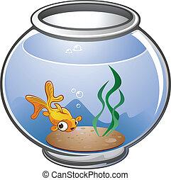 Cartoon Gold Fish Bowl Cartoon - A cute pet goldfish cartoon...
