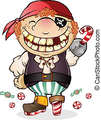Candy Pirate Halloween Cartoon - A goofy kid with a huge...
