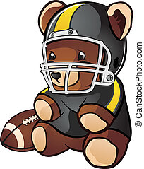 Football Teddy Bear Cartoon - A cartoon teddy bear stuffed...