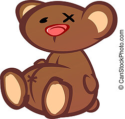 Old Beat Up Teddy Bear Cartoon Char - An old won out teddy...