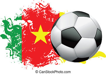 Cameroon Soccer Grunge Design - Soccer ball with a grunge...
