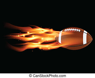 Flaming Football - A flaming football flying against a black...