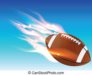Flaming Football - A flaming football flying in the blue sky...