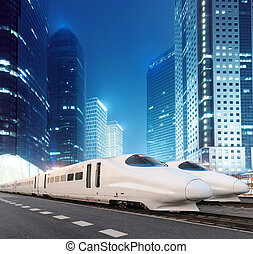 the night view - very high-speed train go through the...