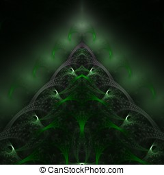 Evergreen Layers Abstract - Beautiful, layered green fibers,...