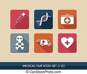 Medical health flat icons set