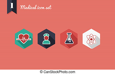 Medical health flat icons set.