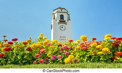 Boise train depot and colorful flowers - Summer flowers and...