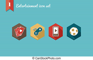 Leisure flat icons set.