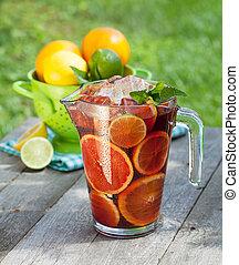 fruta,  sangría, refrescante,  (punch)