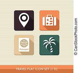 Travel flat icons set. - Travel flat icon set, vacations...