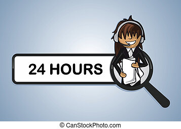 Service search 24 hours center girl cartoon - 24 hours...