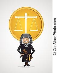 Service judge man cartoon Justice symbol.