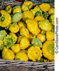 Small Yellow Squash at a farmers market in a basket - Fresh...