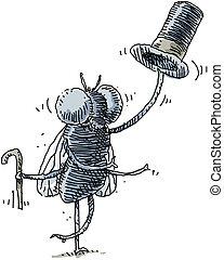 Dapper Housefly - A dapper housefly tips his top hat.