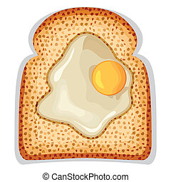 A fried egg sunny side up of crusty toast