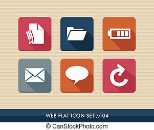 Web apps square flat icons set - Web applications flat icon...