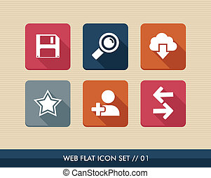 Web apps square flat icons set. - Web applications flat icon...