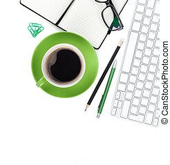 Coffee cup and office supplies - Geen coffee cup and office...