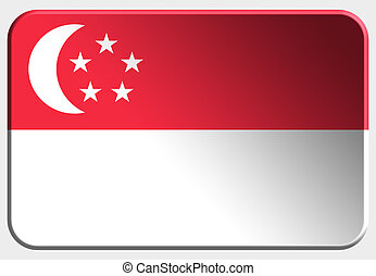 Singapore 3D button on white background