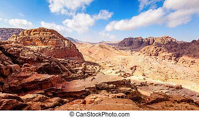 Jordanian desert - High view point of Jordanian desert at...