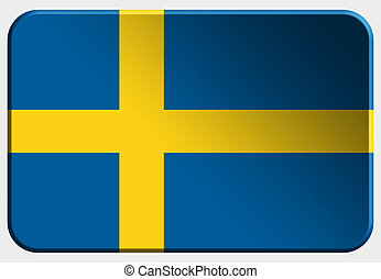 Sweden 3D button on white background