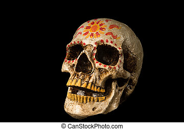Day of The Dead Skull - Hand painted Dia de los Muertos Day...