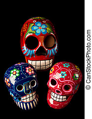 Colorful Day of The Dead Skulls - Colorful painted Day of...