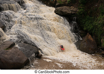 Kayaking on The Reedy River - Adventurous kayaker makes his...