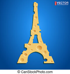 French cheese - Realistic cheese in the shape of the Eiffel...