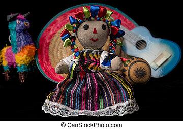muñeca, mexicano, juguetes