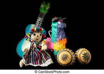 Mexican Doll and Toys - Mexican doll, pinata, guitar, hat,...