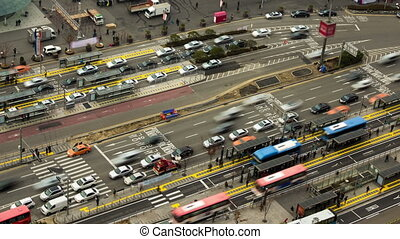 Seoul City 55 Zoom - 55) Zooming time lapse of traffic and...