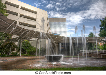 HDR Water Fountain - Long exposure captures slow flowing...