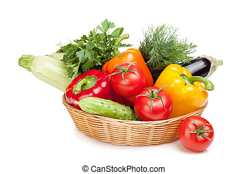 Fresh ripe vegetables in basket Isolated on white background...