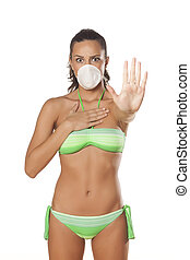 stop sign and breathing mask