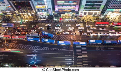 Seoul City 126 - 126) Time lapse of traffic and people in...