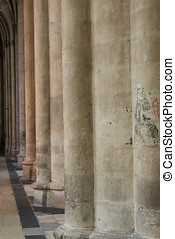 Pillars with different light in the cathedral of Tours in...
