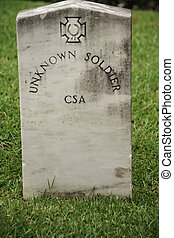 Unknown Soldier Tombstone - CSA Confederate States of...