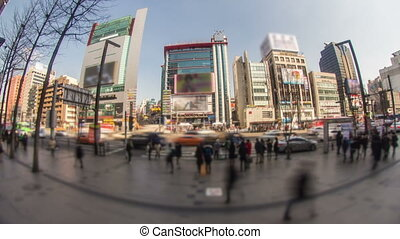 Seoul City 175 - 175) Time lapse of people and traffic in...