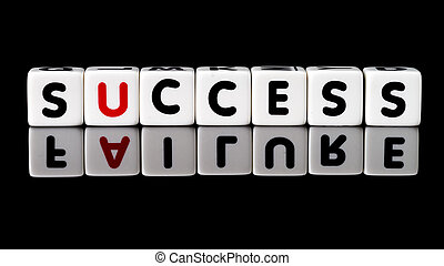 Success Failure Concept - Success spelled in dice letters...