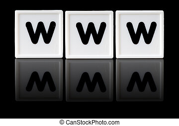 WWW Concept - WWW spelled in game letters reflected on...