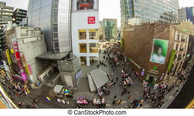 Seoul City 192 - 192) Time lapse of people in a crowded...