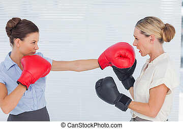 Brown haired businesswoman punching her blond colleague...