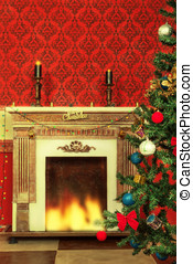 Sensasional vintage Christmas interior with a tree and a...
