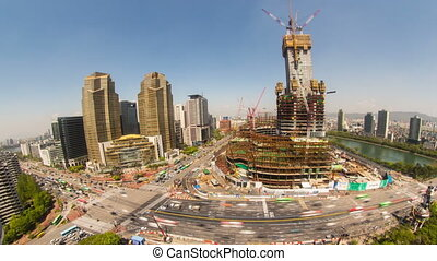 Seoul City 228 - 228) Time lapse of traffic and a...