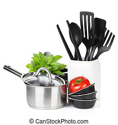 Kitchen utensils, tomato and mint leaves Isolated on white...