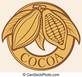 Cacao - cocoa beans label symbol, badge, sticker
